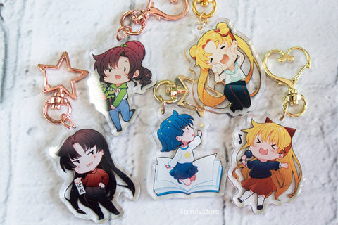 Casual Sailor Moon Inner Senshi Acrylic Charm Set