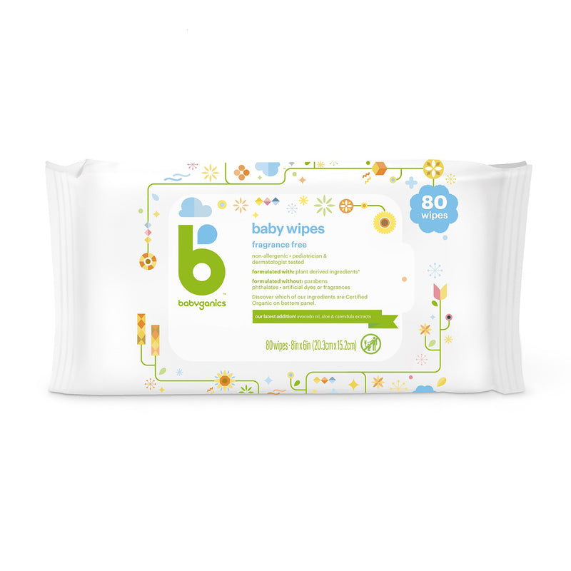 baby wipes, fragrance free,  80 sheets
