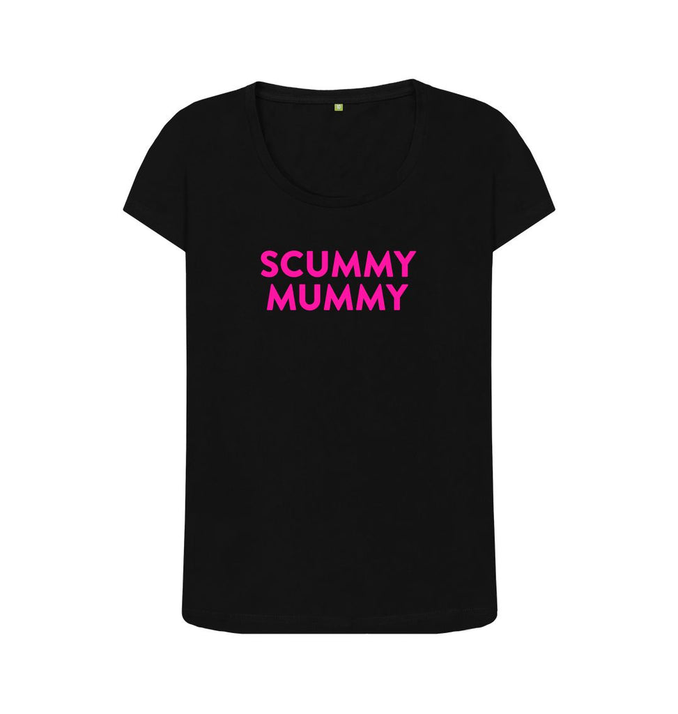 Black Pink SCUMMY MUMMY Scoop Neck T-shirt
