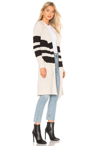 striped open front duster