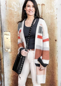 multi stripe long open cardigan