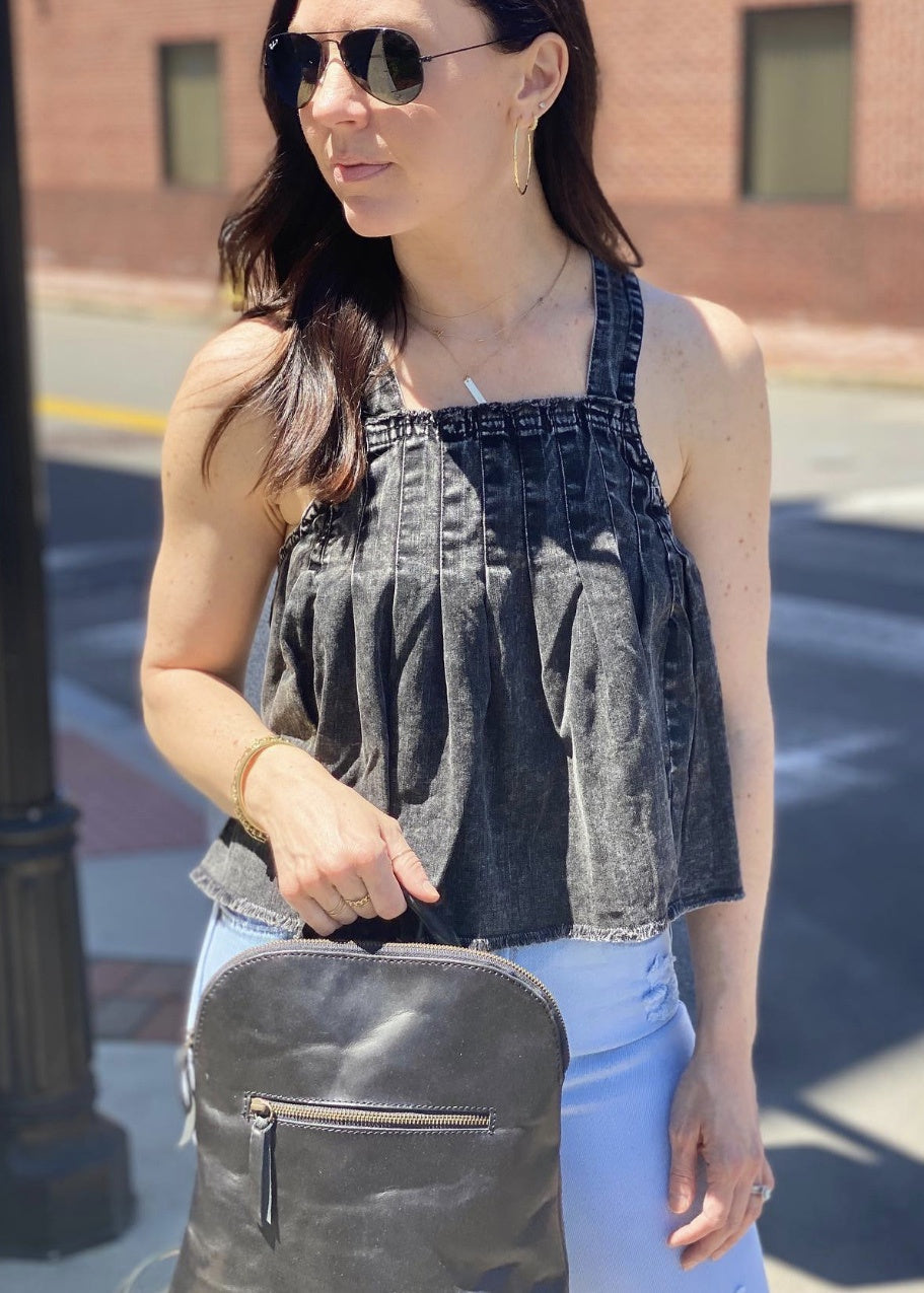 marina black denim top