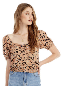 short sleeve leopard tracks top