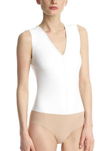 v-neck faux leather bodysuit white