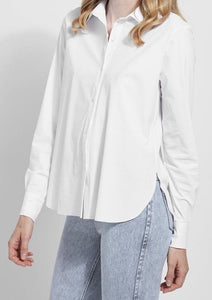 connie slim button down white