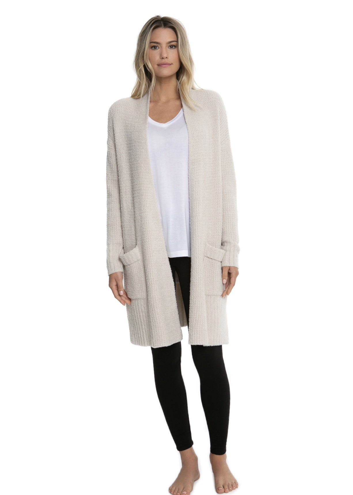 cozy chic long weekend bisque cardigan