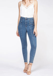 high rise front seam denim petrol wash