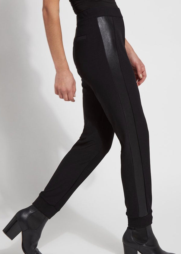 Claudia black jogger with vegan leather
