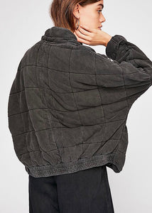 Dolman quilted knit jacket in washed black