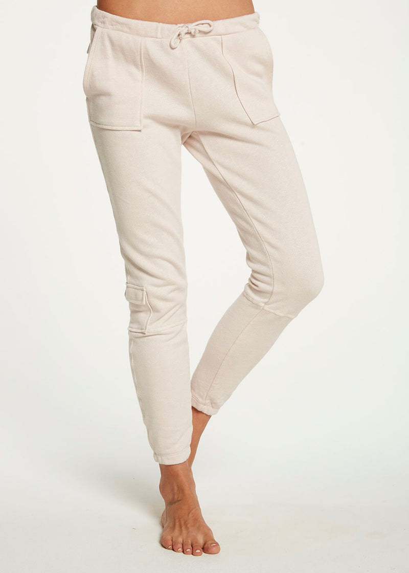 linen french terry seamed raw edge rope lounge pant