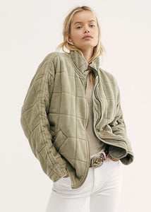 Dolman quilted knit jacket in pine slumber
