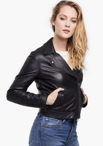 maha black leather jacket