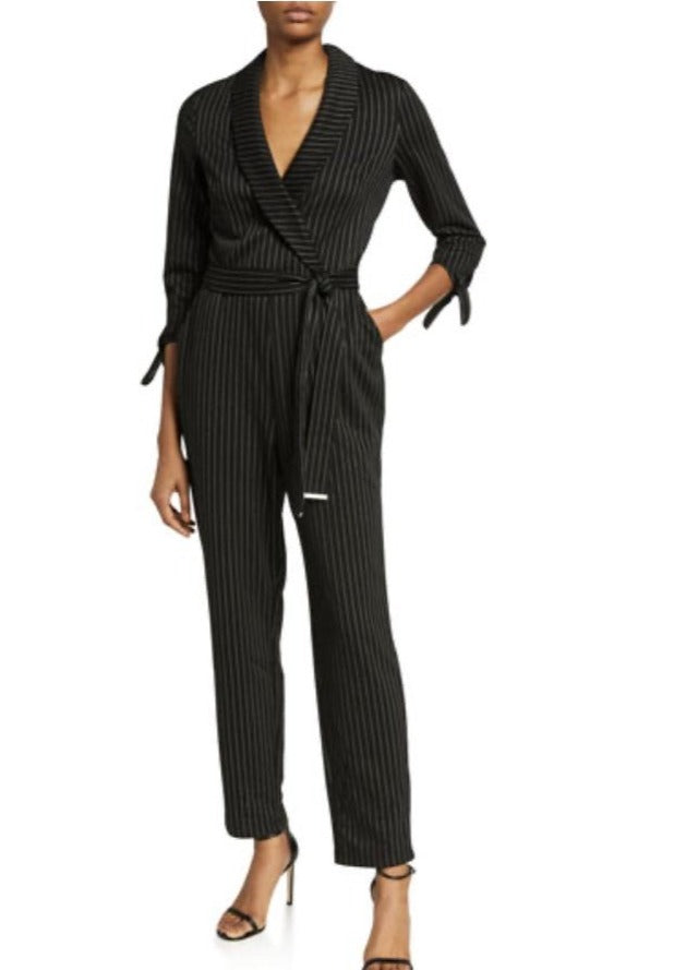 black pinstripe faux wrap jumpsuit