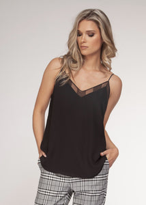 Black v-neck mesh trim cami