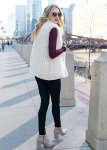ivory knitted faux fur vest