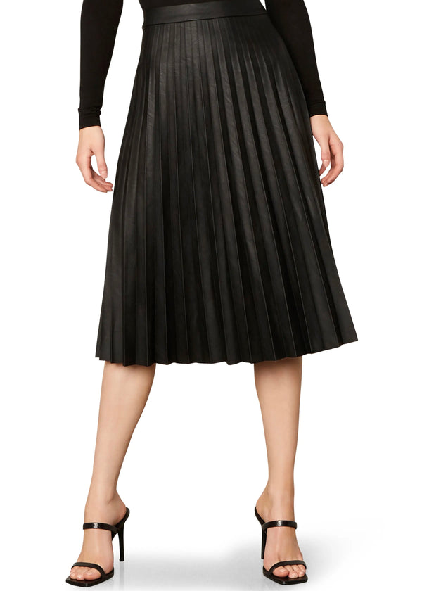 carole pleated black faux leather skirt
