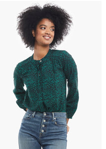 audrey popover evergreen cheetah blouse