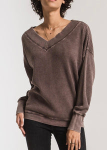 emilia top, reddened brown