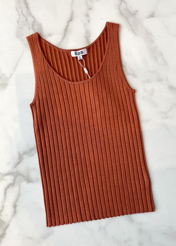 wide ribbed tank - burnt sienna
