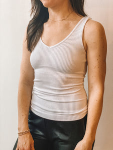 ribbed v-neck tank