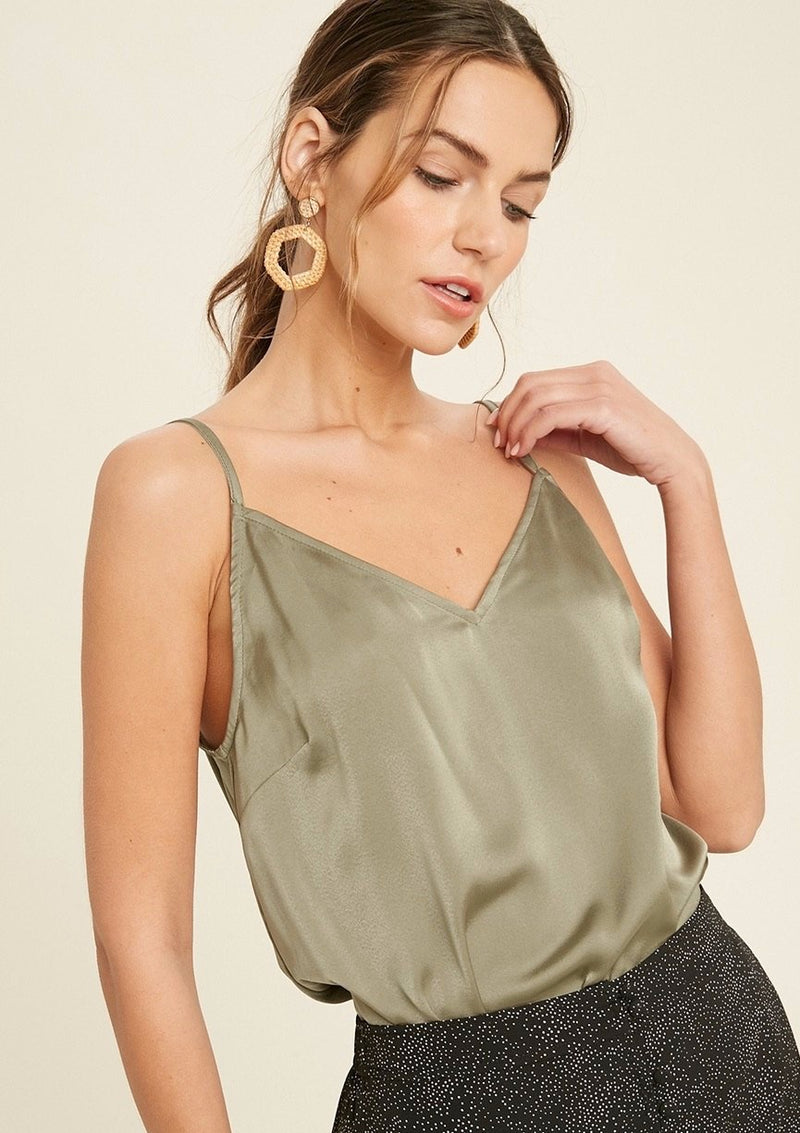 back lace olive cami