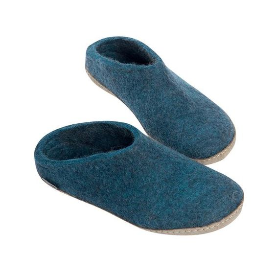 GLERUPS- MEN'S SLIPPER with Leather Sole in Blue