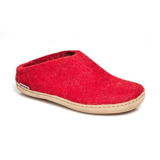 GLERUPS- WOMEN'S SLIPPER with Leather Sole in Red