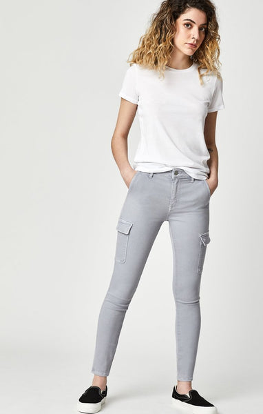 MAVI- ARINA SKINNY CARGO PANTS IN LIGHT GREY