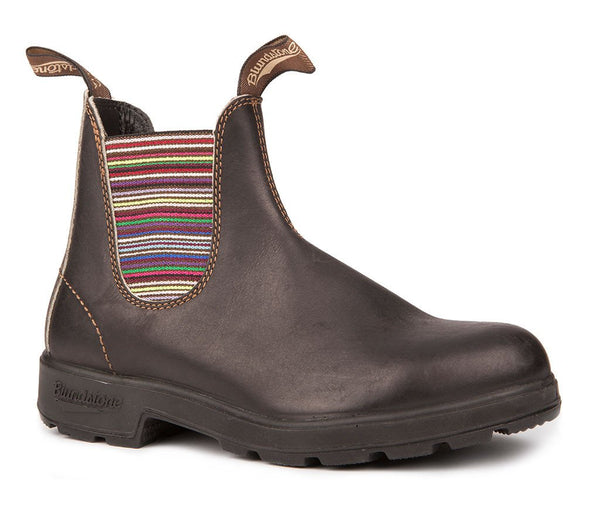 BLUNDSTONE- WOMEN'S 1409 ORIGINAL STOUT BROWN IN STRIPED ELASTIC