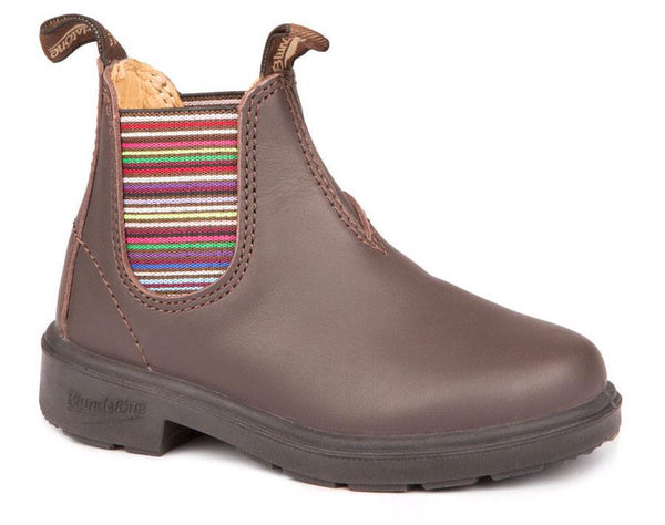 BLUNDSTONE- 1413- YOUTH KIDS' BROWN STRIPED ELASTIC