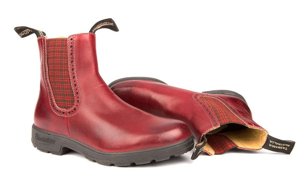 Blundstone- Women's 1442 - The Women's Series in Burgundy Rub with Tartan Elastic