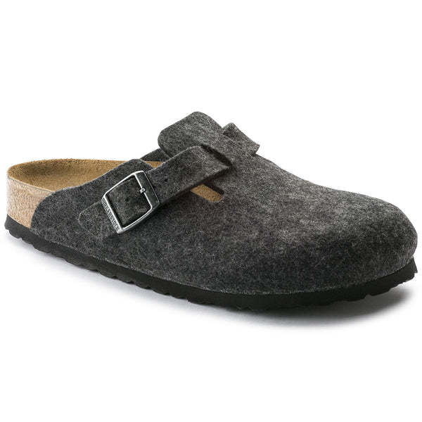 BIRKENSTOCK- WOMEN'S BOSTON | WOOL | ANTHRACITE BLACK