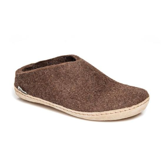 GLERUPS- MEN'S SLIPPER with Leather Sole in Brown