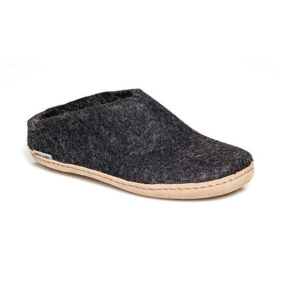 GLERUPS- MEN'S SLIPPER with Leather Sole in Black