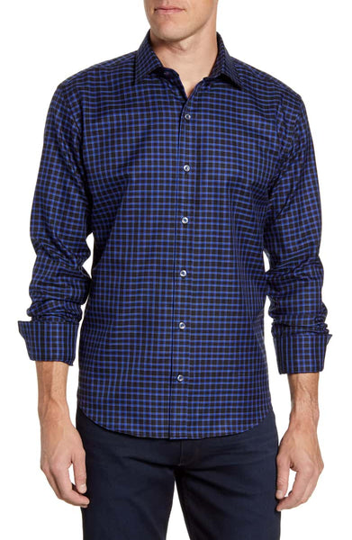 BUGATCHI- SHAPED FIT CHECK BUTTON-UP SPORT SHIRT