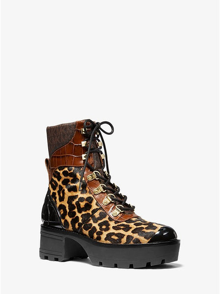 MICHAEL KORS- KHLOE MIXED-MEDIA COMBAT BOOT