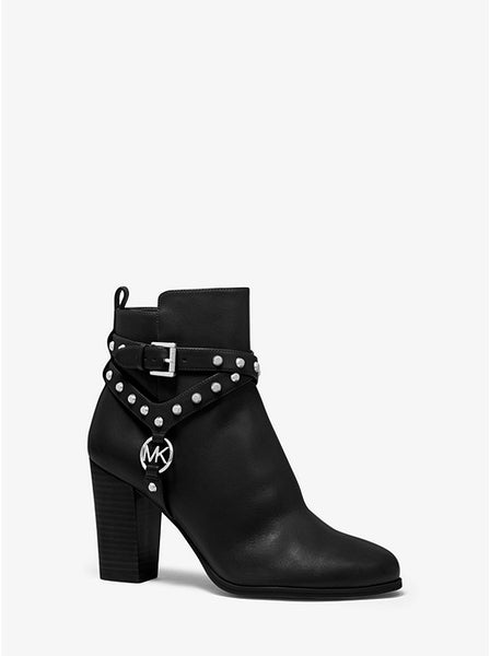 MICHAEL KORS- PRESTON STUDDED LEATHER ANKLE BOOT