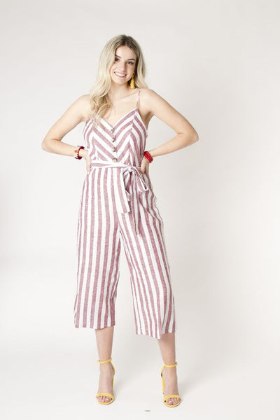 CALIFORNIA MOONRISE- STRIPED CROPPED BUTTON FRONT JUMPSUIT