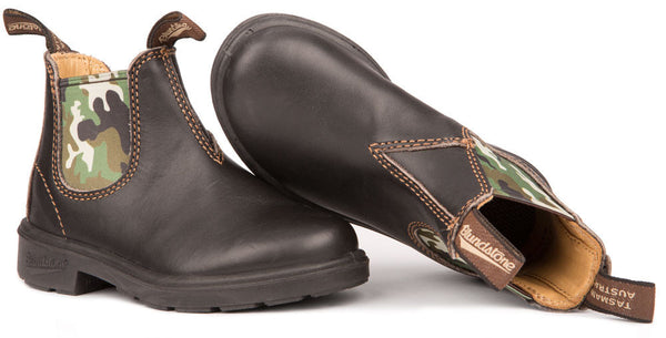Blundstone- KID'S Blunnies in Brown with Camo Elastic