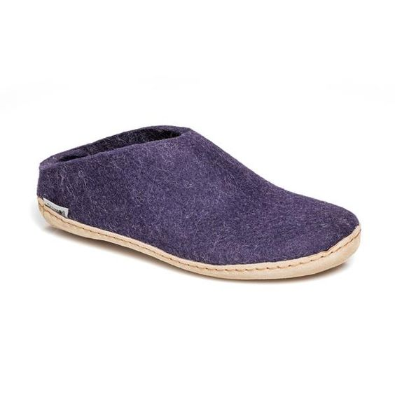 GLERUPS- WOMEN'S SLIPPER with Leather Sole in Purple