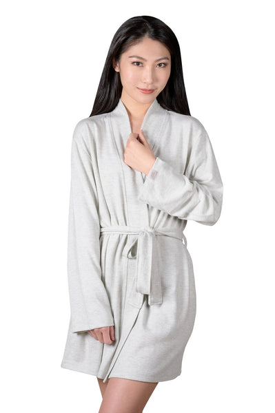 COFFEE SHOPPE- COZY WRAP-IT-UP READING ROBE - GREY MIX