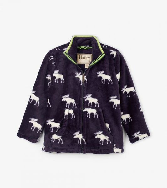 HATLEY- MOOSE SILHOUETTES FUZZY FLEECE ZIP-UP