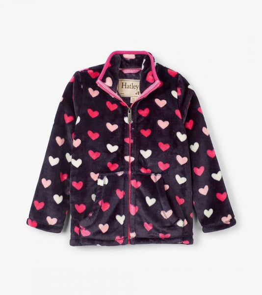 HATLEY- LOVEY HEARTS FUZZY FLEECE ZIP-UP