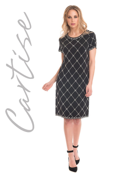 CARTISE- DIAMOND STUDDED S/SLV DRESS