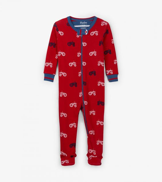 HATLEY- FARM TRACTORS ORGANIC COTTON FOOTED COVERALL