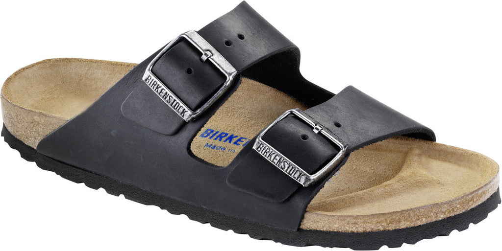 BIRKENSTOCK- MEN'S ARIZONA SOFT | NATURAL LEATHER | BLACK