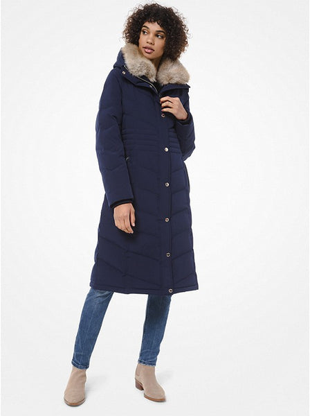 MICHAEL KORS- FAUX FUR TRIM QUILTED PUFFER COAT