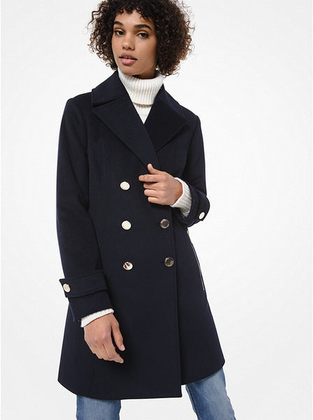 MICHAEL KORS- WOOL BLEND DOUBLE-BREASTED COAT