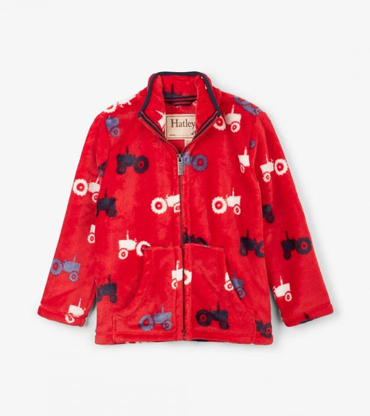 HATLEY- FARM TRACTORS FUZZY FLEECE ZIP-UP