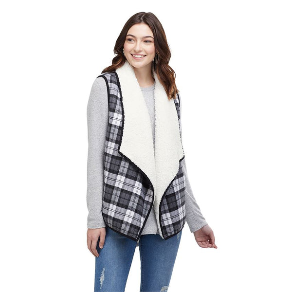 MUDPIE- RIDLEY PLAID SHERPA VEST (more colours)